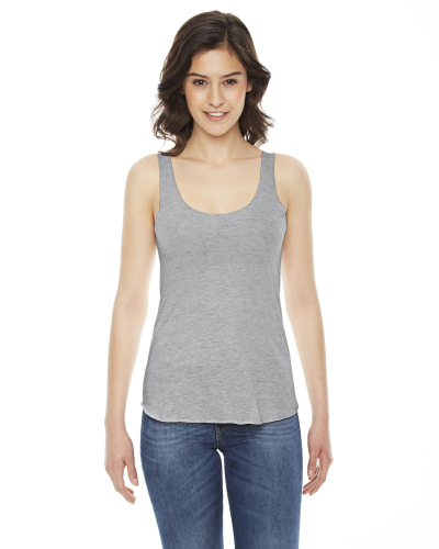 Athletic Grey MADE IN USA Ladies' Triblend Racerbank Tank as seen from the front