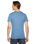 Athletic Blue MADE IN USA Unisex Triblend Short-Sleeve Track T-Shirt as seen from the back