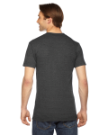 Tri Black MADE IN USA Unisex Triblend Short-Sleeve Track T-Shirt as seen from the back