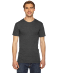 Tri Black MADE IN USA Unisex Triblend Short-Sleeve Track T-Shirt as seen from the front