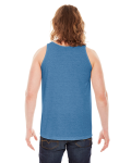 Athletic Blue MADE IN USA Unisex Triblend Tank as seen from the back