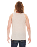 Tri Oatmeal MADE IN USA Unisex Triblend Tank as seen from the back