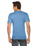 Athletic Blue MADE IN USA Unisex Triblend Short-Sleeve V-Neck as seen from the back
