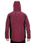 Sport Maroon Men's Dominator Waterproof Jacket as seen from the back