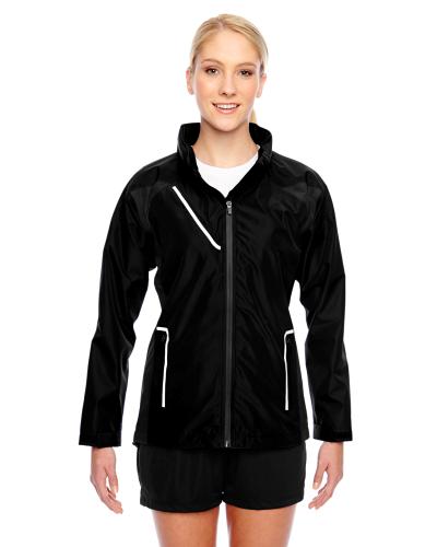 Black Ladies' Dominator Waterproof Jacket as seen from the front