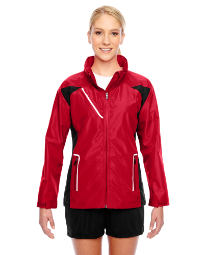 Sport Red Ladies' Dominator Waterproof Jacket as seen from the front