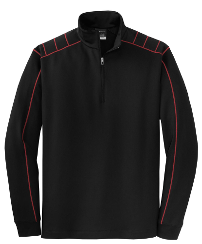 Blk Vrsity Red Nike Golf Dri-FIT 1/2-Zip Cover-Up as seen from the front