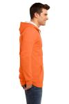 Neon Orange District Young Mens The Concert Fleece Full-Zip Hoodie as seen from the sleeveleft