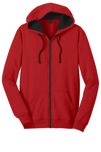 New Red District Young Mens The Concert Fleece Full-Zip Hoodie as seen from the front
