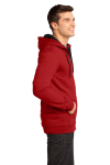 New Red District Young Mens The Concert Fleece Full-Zip Hoodie as seen from the sleeveleft