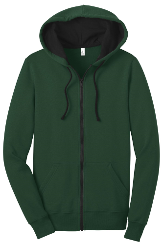 Forest Green District Juniors The Concert Fleece Full-Zip Hoodie as seen from the front