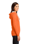 Neon Orange District Juniors The Concert Fleece Full-Zip Hoodie as seen from the sleeveleft