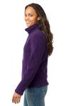 Blackberry Eddie Bauer Ladies Full-Zip Fleece Jacket as seen from the sleeveleft