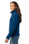 Deep Sea Blue Eddie Bauer Ladies Full-Zip Fleece Jacket as seen from the sleeveleft