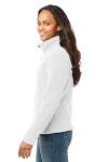 White Eddie Bauer Ladies Full-Zip Fleece Jacket as seen from the sleeveleft