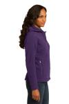 Blackberry Eddie Bauer Ladies Hooded Full-Zip Fleece Jacket as seen from the sleeveleft
