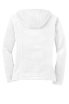 White Eddie Bauer Ladies Hooded Full-Zip Fleece Jacket as seen from the back