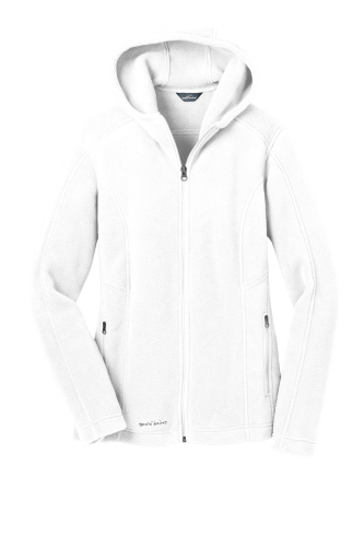 White Eddie Bauer Ladies Hooded Full-Zip Fleece Jacket as seen from the front