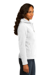 White Eddie Bauer Ladies Hooded Full-Zip Fleece Jacket as seen from the sleeveleft