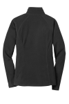 Black Eddie Bauer Ladies Full-Zip Microfleece Jacket as seen from the back