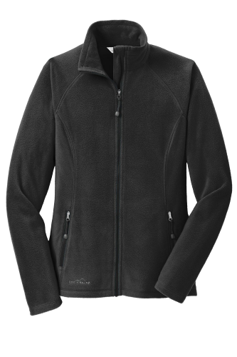 Black Eddie Bauer Ladies Full-Zip Microfleece Jacket as seen from the front