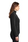 Black Eddie Bauer Ladies Full-Zip Microfleece Jacket as seen from the sleeveleft