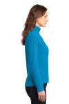 Peak Blue Eddie Bauer Ladies Full-Zip Microfleece Jacket as seen from the sleeveleft