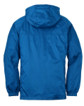 Brilliant Blue Eddie Bauer Packable Wind Jacket as seen from the back