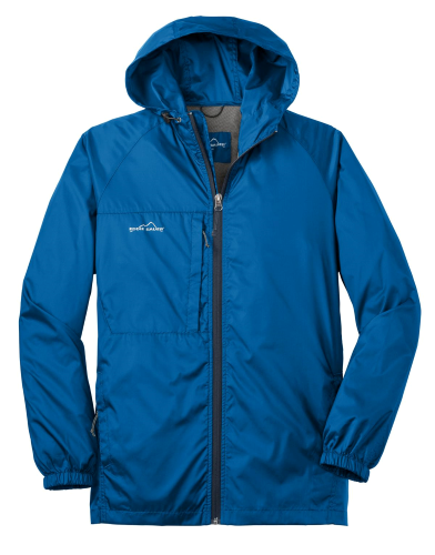 Brilliant Blue Eddie Bauer Packable Wind Jacket as seen from the front