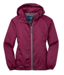 Black Cherry Eddie Bauer Ladies Packable Wind Jacket as seen from the front