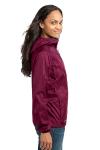 Black Cherry Eddie Bauer Ladies Packable Wind Jacket as seen from the sleeveleft