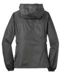 Grey Steel Eddie Bauer Ladies Packable Wind Jacket as seen from the back