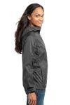 Grey Steel Eddie Bauer Ladies Packable Wind Jacket as seen from the sleeveleft