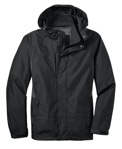 Black Eddie Bauer Rain Jacket as seen from the front