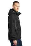 Black Eddie Bauer Rain Jacket as seen from the sleeveleft