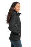 Black Eddie Bauer Ladies Rain Jacket as seen from the sleeveleft
