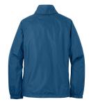Deep Sea Blue Eddie Bauer Ladies Rain Jacket as seen from the back