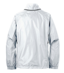 White Eddie Bauer Ladies Rain Jacket as seen from the back