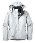 White Eddie Bauer Ladies Rain Jacket as seen from the front
