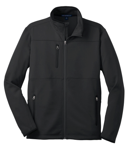 Black Port Authority Pique Fleece Jacket as seen from the front