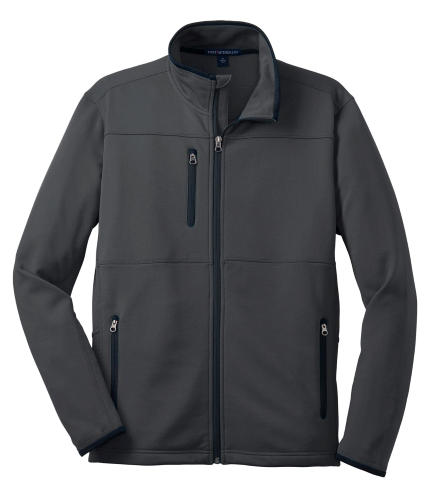 Graphite Port Authority Pique Fleece Jacket as seen from the front