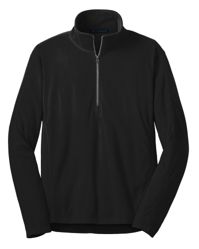 Black Port Authority Microfleece 1/2-Zip Pullover. as seen from the front