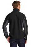 Black Bat Grey Port Authority Core Colorblock Soft Shell Jacket as seen from the back