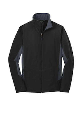 Black Bat Grey Port Authority Core Colorblock Soft Shell Jacket as seen from the front