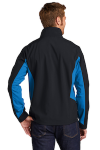 Black Imp Blue Port Authority Core Colorblock Soft Shell Jacket as seen from the back