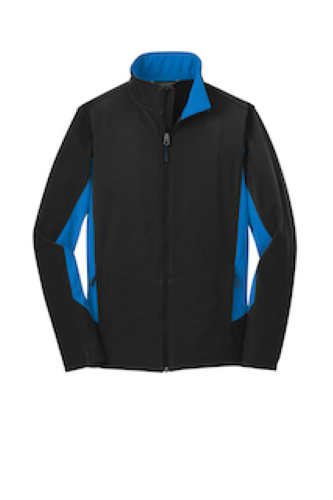 Black Imp Blue Port Authority Core Colorblock Soft Shell Jacket as seen from the front