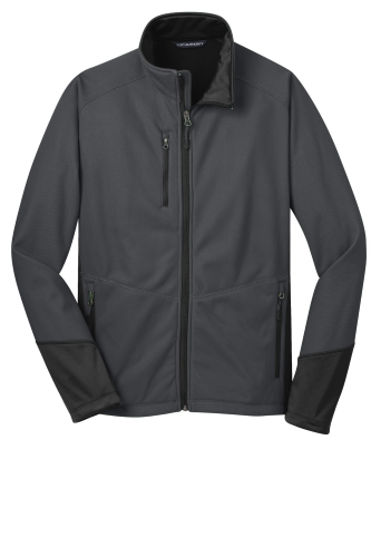 Mag Grey Black Port Authority Vertical Soft Shell Jacket as seen from the front