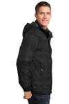 Black Port Authority Brushstroke Print Insulated Jacket as seen from the sleeveleft