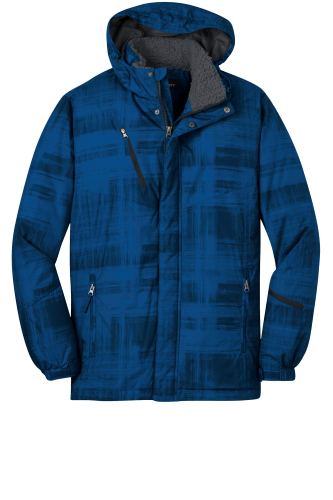 Blue Port Authority Brushstroke Print Insulated Jacket as seen from the front