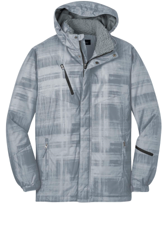 Grey Port Authority Brushstroke Print Insulated Jacket as seen from the front